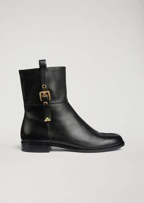 Emporio Armani Nappa Ankle Boots With Side Strap