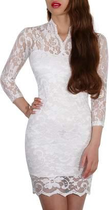 SODACODA Women's Lace Short Dress - 3/4 Sleeve Slim-Fit - V-neck - (, S)