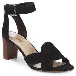Nine West Crisscross Block Heel Leather Sandals