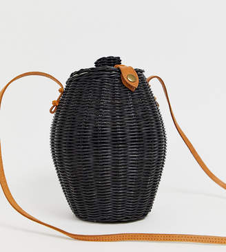 Ellen & James stella handmade black straw honeypot cross body bag