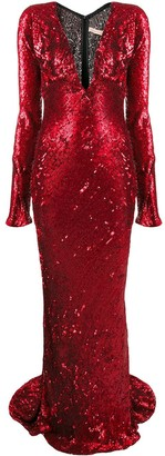 Maria Lucia Hohan plunge-neck sequin gown