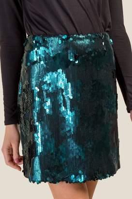 francesca's Hanna Allover Sequined Skirt - Pine