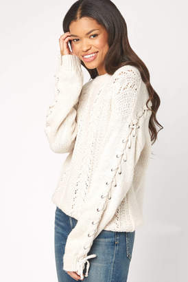 Cupcakes & Cashmere Lace Up Detail Pointelle Sweater