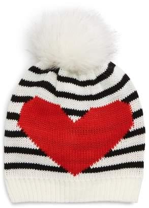 Tucker + Tate Heart U Stripe Knit Beanie with Faux Fur Pom