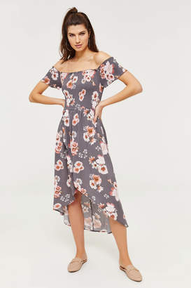Ardene Smocked Off Shoulder High-Low Maxi Dress