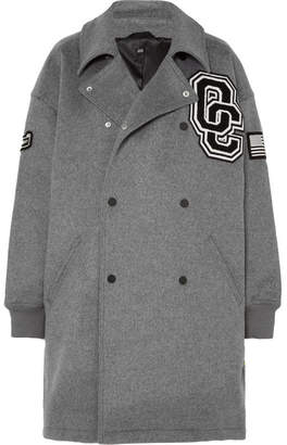 Opening Ceremony Oversized Appliquéd Brushed Wool-blend Coat - Gray