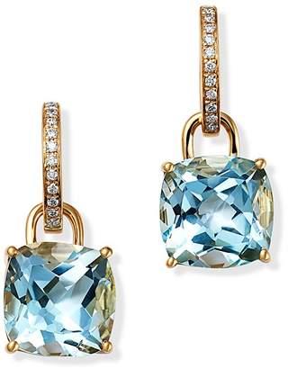 Kiki McDonough 18K Yellow Gold Classics Cushion-Cut Blue Topaz & Diamond Drop Earrings