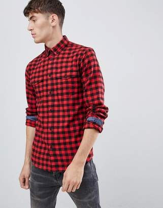 Solid buffalo plaid shirt in red