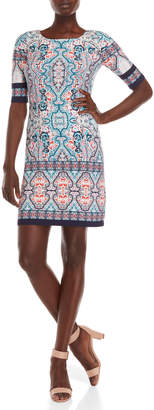 Eliza J Printed Elbow Sleeve Dress