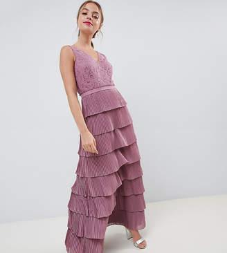 Little Mistress Petite laced tiered maxi dress
