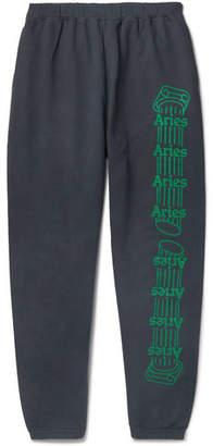 Aries Logo-print Fleece-back Cotton-jersey Sweatpants - Black