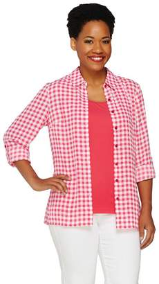 Denim & Co. Printed Check Georgette Shirt and Knit Tank Set