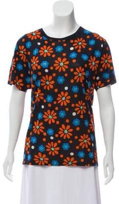 Saint Laurent Floral Print Crew Neck T-Shirt