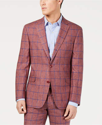 Tommy Hilfiger Men Modern-Fit Brick/Blue Windowpane Suit Jacket