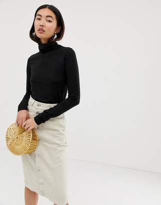 Weekday Chie Turtleneck Jersey Top in Black