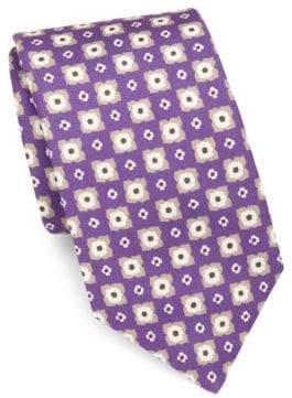 Isaia Medallion-Print Silk Tie