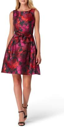 Tahari Sleeveless Jacquard Fit & Flare Dress