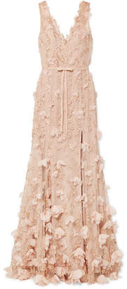 Marchesa Embellished Tulle Gown - Blush