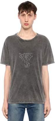 Saint Laurent Y Print Washed Cotton Jersey T-Shirt