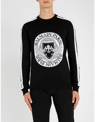 Balmain Logo crest-embroidered wool-blend jumper