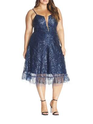 Dress the Population Leona Art Nouveau Dress in Navy Blue Size X-Large
