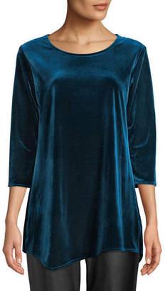 Caroline Rose Round-Neck 3/4-Sleeve Stretch-Velvet Angled Top