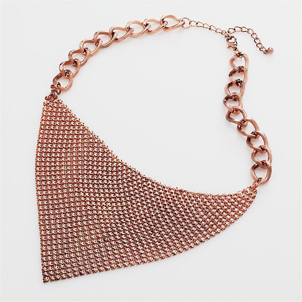 Candie's® copper-tone bib necklace