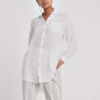 River Island Womens White longline long sleeve shirt