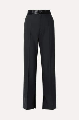 Helmut Lang Satin-trimmed Wool And Mohair-blend Wide-leg Pants - Black