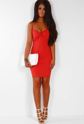 Pink Boutique Pretty Little Lies Tomato Red Twist Front Bodycon Mini Dress