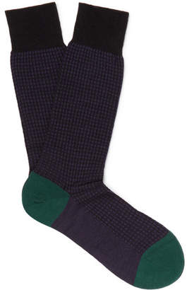Pantherella Hatherley Puppytooth Merino Wool-Blend Socks - Men - Purple