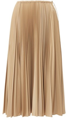 Fendi High Rise Pleated Satin Midi Skirt - Womens - Beige