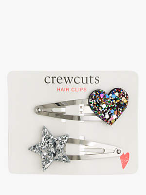 J.Crew crewcuts by Girls' Glitter Heart and Star Hair Clips, Pack of 2, Multi