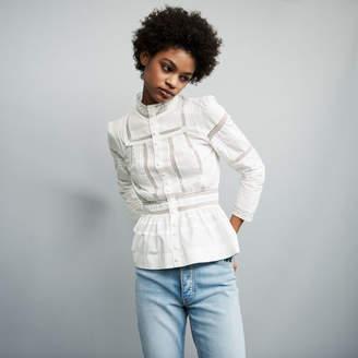 Maje Embroidered poplin blouse