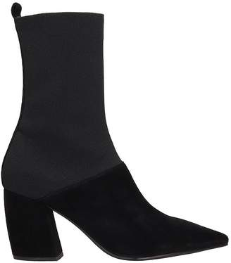 Jeffrey Campbell Black Suede And Fabric Ankle Boots Abbott