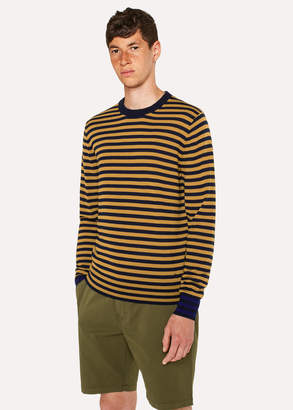 Paul Smith Men's Mustard And Navy Stripe Merino Wool Sweater