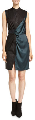 DKNY Sleeveless Mixed-Media Shirtdress, Vetiver $298 thestylecure.com
