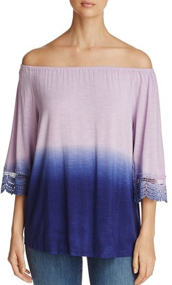 Design History Off-The-Shoulder Lace Trim Top $78 thestylecure.com