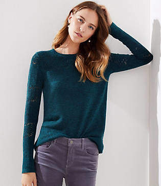 LOFT Petite Lacy Pointelle Sweater