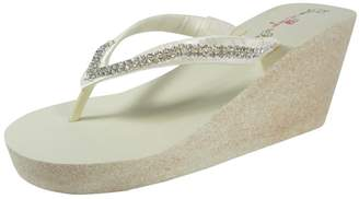 796670efb at Amazon Canada · Bow Flip Flops Diamond 3.5 inch Rhinestone High Wedge  Flip Flops Sandals with Glitter Heel-