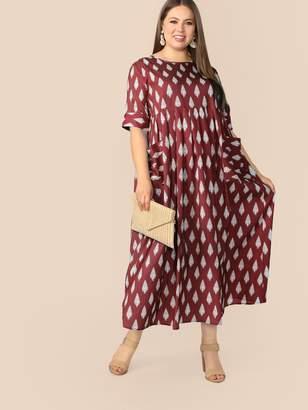 Shein Plus Patch Pocket Heather Knit Smock Dress