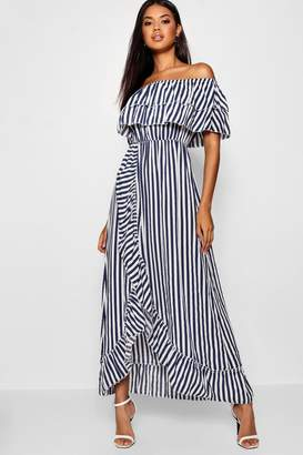boohoo Stripe Bardot Ruffle Split Hem Maxi Dress