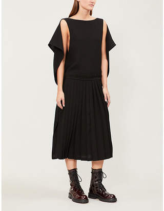 Limi Feu Cape-detail pleated crepe dress