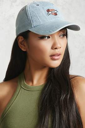Forever 21 Embroidered Denim Dad Cap