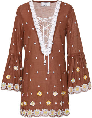 Miguelina Lace-Up Embroidered Cotton MIni Dress