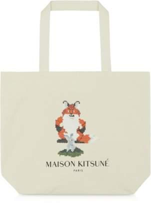 MAISON KITSUNÉ Pixel Tote Bag w/Silkscreened Fox&Rabbit