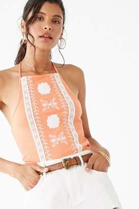Forever 21 Floral-Embroidered Halter Top