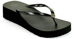 Tory Burch Thin Wedge Flip Flop - Black Rubber Wedge Thong Sandal