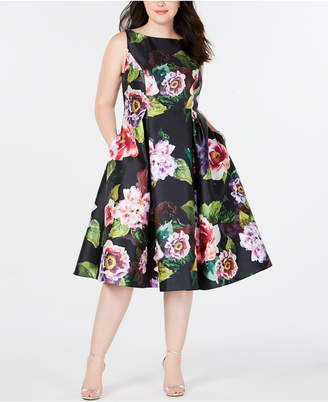 Adrianna Papell Plus Size Tea-Length Dress