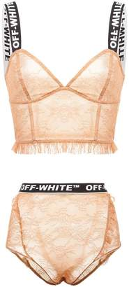 Off-White logo strap longline bra